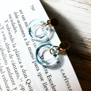 GOLD CLEAR BLUE ACRYLIC DROP HOOPS